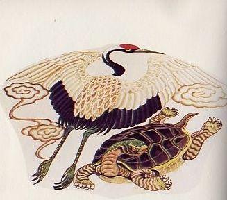 松鹤延年图案 为仙鹤,松树;松在古代人们心目中认为是百木之长,在